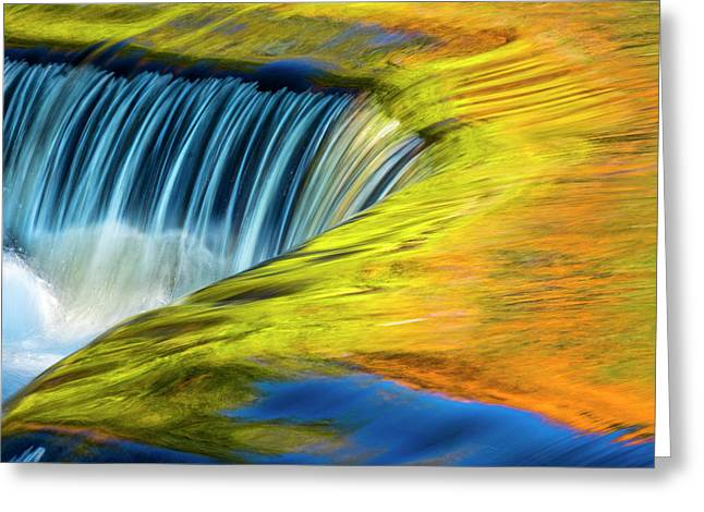 Usa, Michigan, Waterfall, Abstract Greeting Card