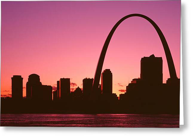 Usa, Missouri, St Louis, Sunset Greeting Card by Panoramic Images