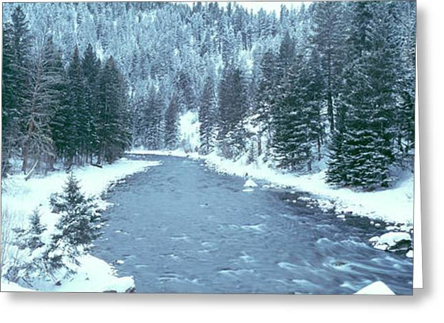 Usa, Montana, Gallatin River, Winter Greeting Card by Panoramic Images