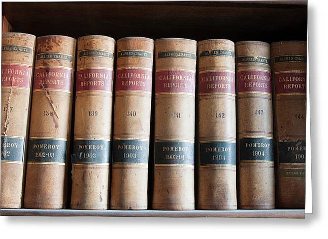 Usa, Nevada Old Law Books In Library Greeting Card