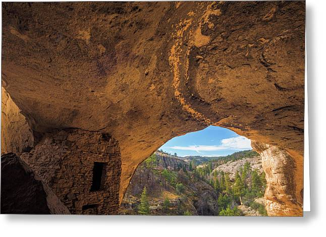 Usa, New Mexico, Gila Cliff Dwellings Greeting Card