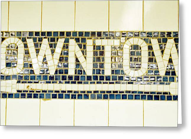Usa, New York City, Subway Sign Greeting Card by Panoramic Images