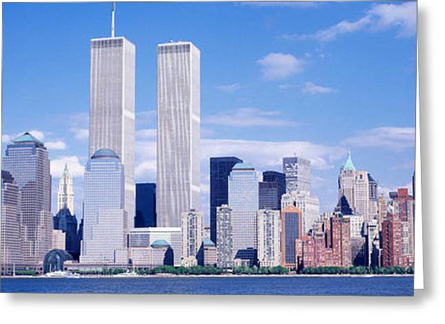 Usa, New York City, With World Trade Greeting Card by Panoramic Images