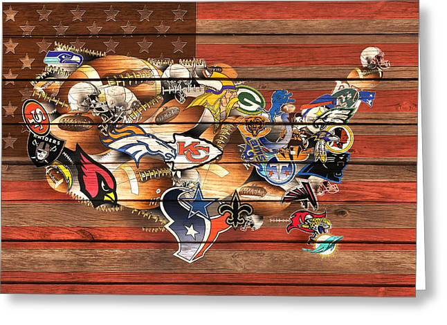 Usa Nfl Map Collage 10 Greeting Card by Bekim Art