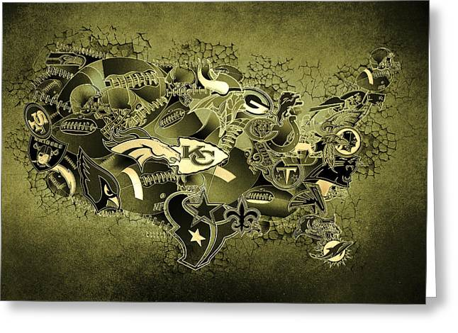 Usa Nfl Map Collage 15 Greeting Card by Bekim Art