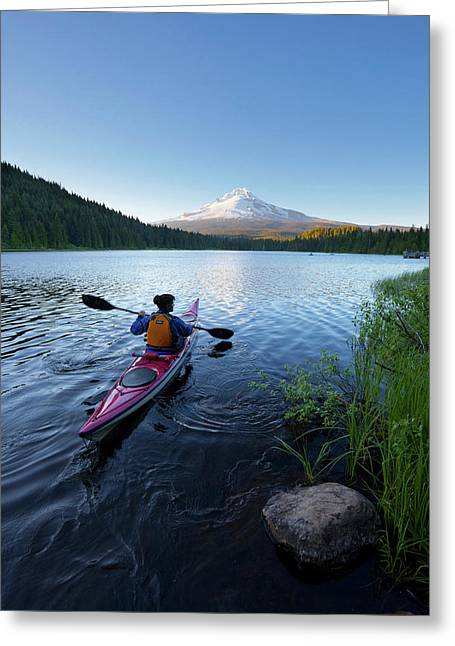 Usa, Oregon A Woman In A Sea Kayak Greeting Card by Gary Luhm