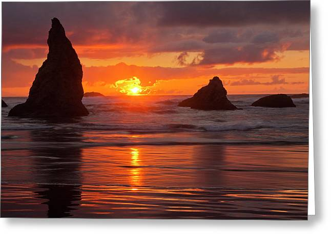 Usa, Oregon, Bandon Beach Greeting Card