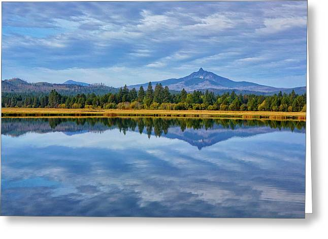Usa, Oregon Clouds Reflect In Small Greeting Card by Jaynes Gallery