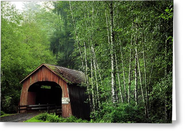 Usa, Oregon Covered Bridge Over North Greeting Card by Jaynes Gallery