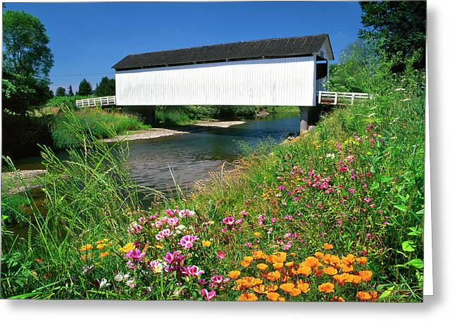 Usa, Oregon Gallon House Covered Bridge Greeting Card by Jaynes Gallery