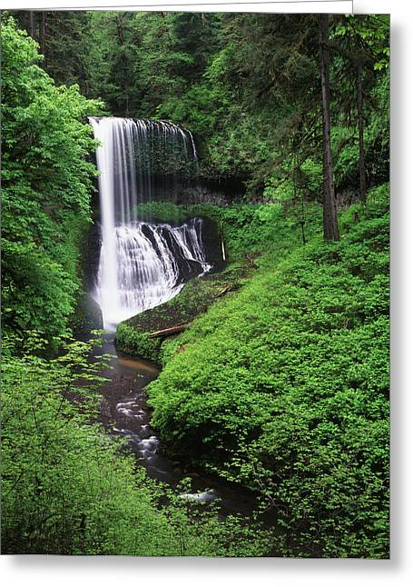 Usa, Oregon, Middle North Falls, Silver Greeting Card by Adam Jones