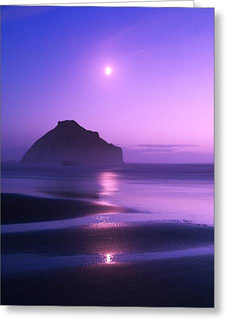 Usa, Oregon Moonrise Over Face Rock Greeting Card by Jaynes Gallery
