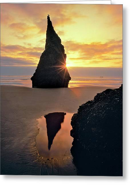 Usa, Oregon Rock Formation At Sunset Greeting Card