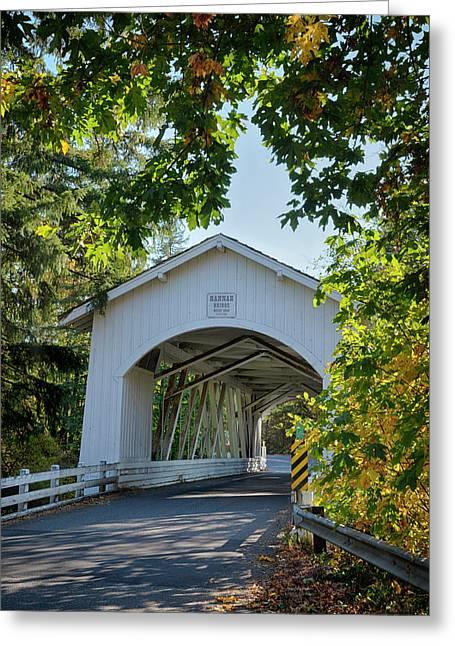 Usa, Oregon, Scio, The Hannah Bridge Greeting Card