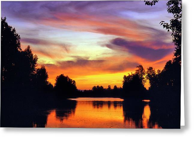 Usa, Oregon Sunset Reflecting Greeting Card by Jaynes Gallery