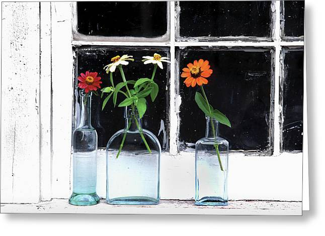 Usa, Oregon, Zinnias In Bottles Greeting Card by Jaynes Gallery