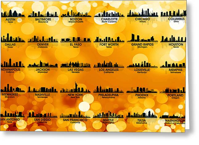 Usa Skylines 3 Greeting Card by Angelina Vick