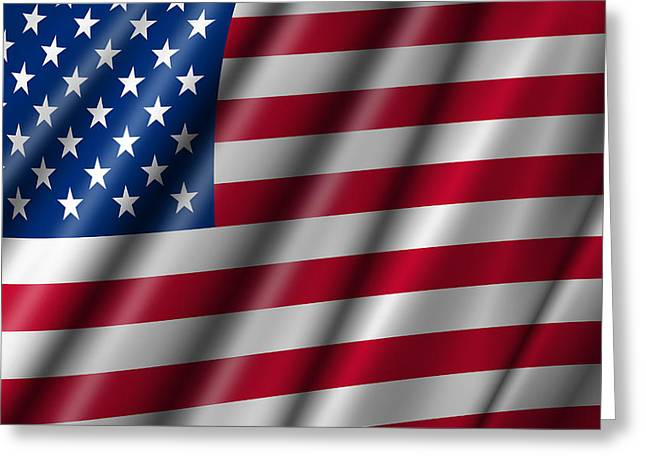 Usa Stars And Stripes Flying American Flag Greeting Card