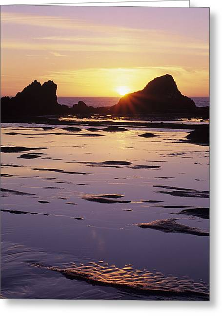 Usa, Sun Setting Over Rocks And Greeting Card by Greg Vaughn