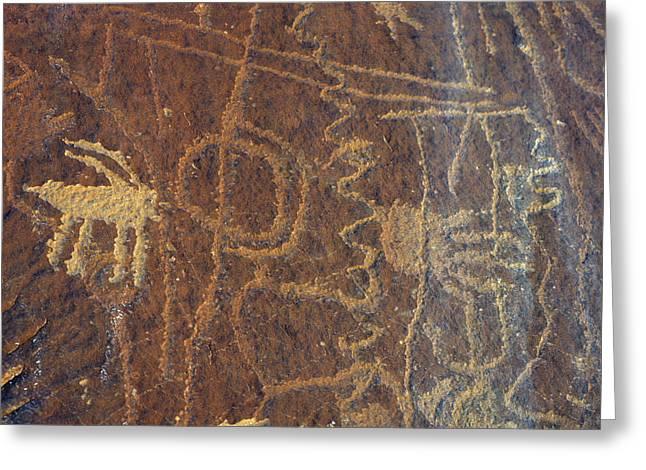 Usa, Utah, Petroglyphs, Sandstone Greeting Card