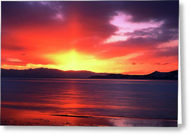 Usa, Utah, Sunset Over Farmington Bay Greeting Card by Scott T. Smith