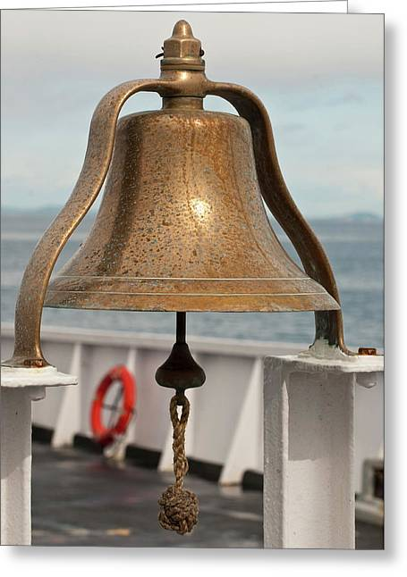 Usa, Wa, Brass Ship Bell On Blackball Greeting Card by Trish Drury