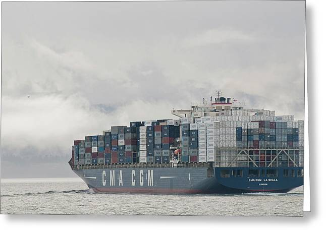 Usa, Wa, Laden Container Ship Moves Greeting Card by Trish Drury