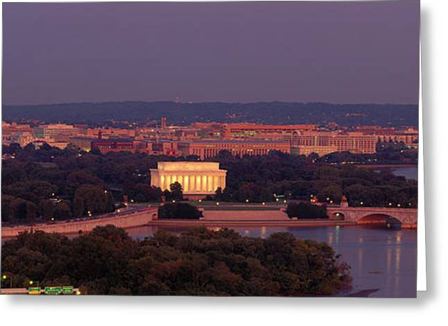Usa, Washington Dc, Aerial, Night Greeting Card