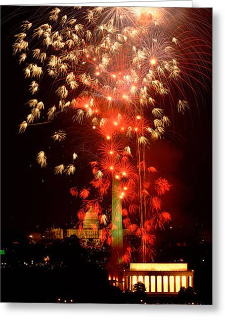 Usa, Washington Dc, Fireworks Greeting Card by Panoramic Images