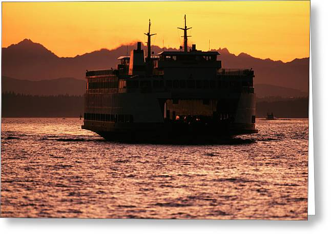 Usa, Washington, Ferry Boat At Sunset Greeting Card by David Barnes