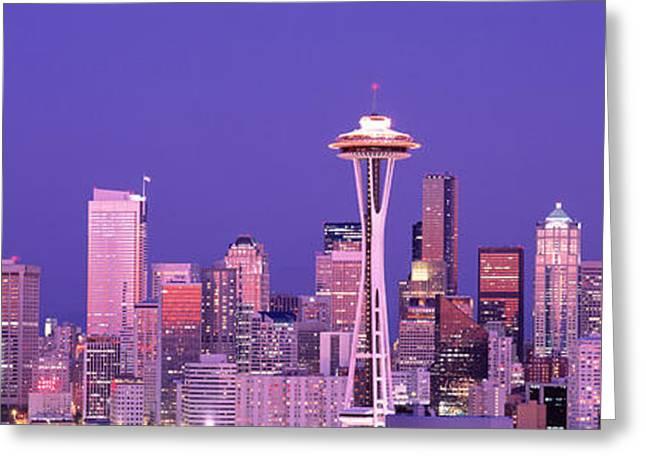 Usa, Washington, Seattle, Night Greeting Card