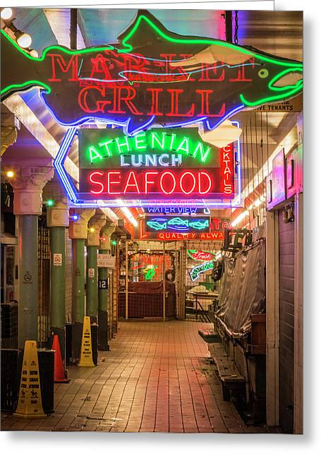 Usa, Washington, Seattle, Pike Place Greeting Card by Emily Wilson