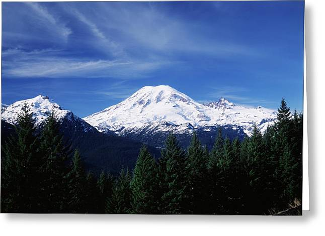 Usa, Washington State, View Of Mount Greeting Card by Paul Souders