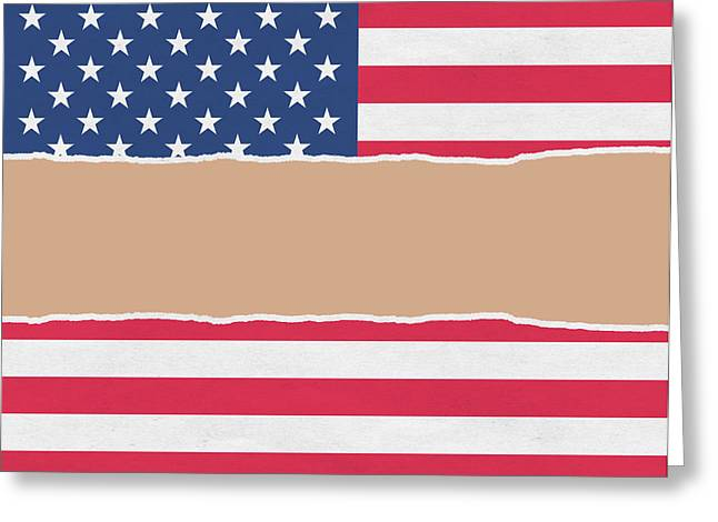 Usa Wrapping Paper Torn Through The Centre Greeting Card by Steve Ball