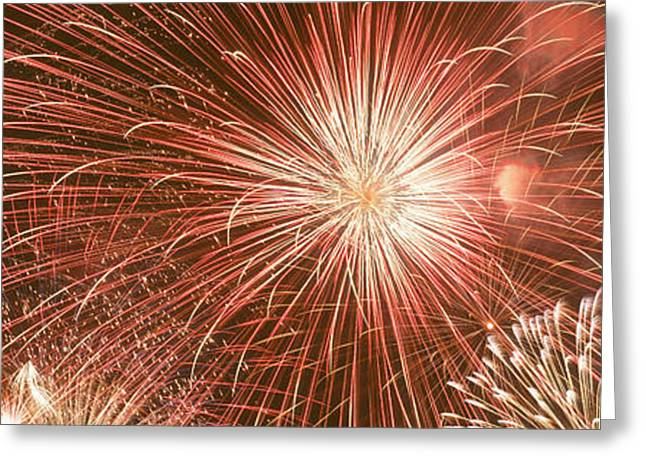 Usa, Wyoming, Jackson, Fireworks Greeting Card by Panoramic Images