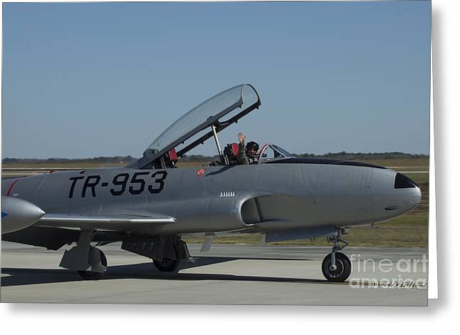 Usaf Lockheed T-33 'tr-953' Taxi Greeting Card by D Wallace