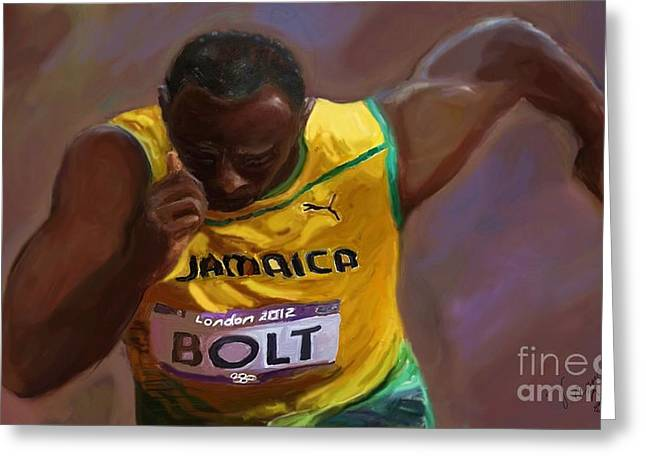 Greeting Card featuring the painting Usain Bolt 2012 Olympics by Vannetta Ferguson