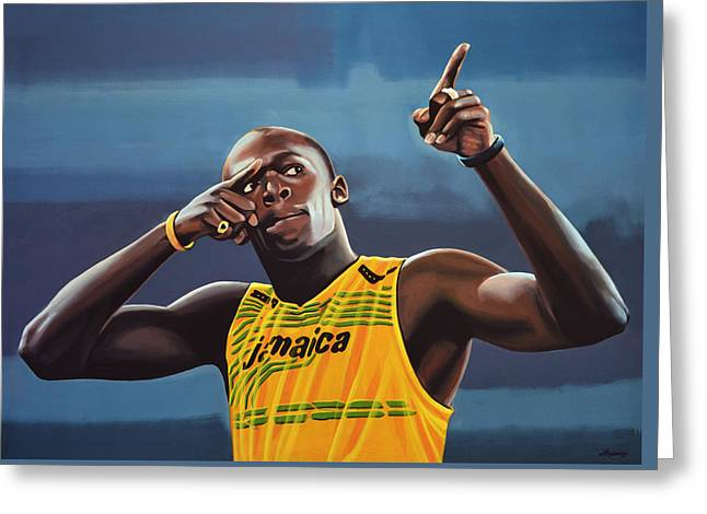 Usain Bolt Painting Greeting Card by Paul Meijering