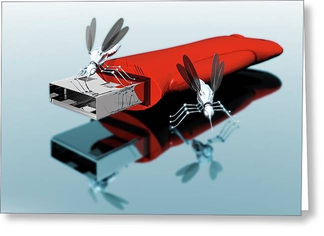 Usb Drive With Nano Bugs Greeting Card by Victor Habbick Visions