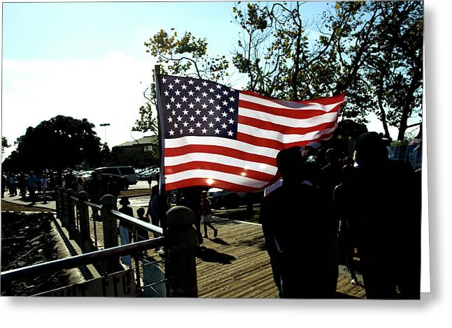 U.s.flag Greeting Card by Terry Thomas