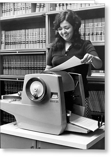 Using A Mimeograph Machine Greeting Card