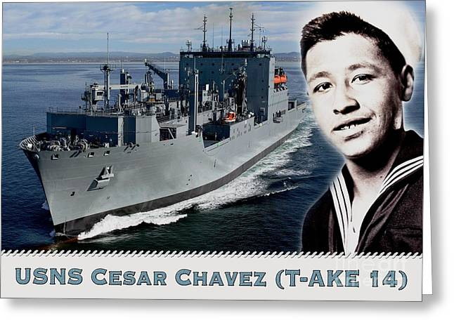 Usns Cesar Chavez - T-ake 14 Greeting Card by Pg Reproductions