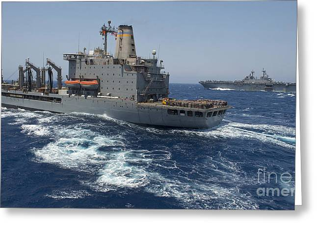 Usns Patuxent Conducts A Replenishment Greeting Card