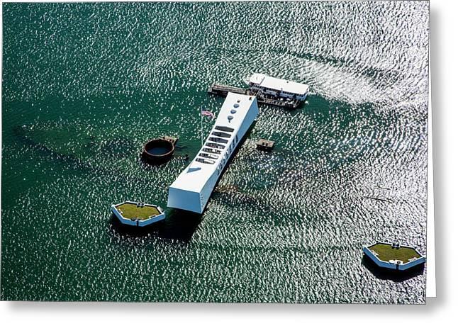 Uss Arizona Memorial, Pearl Harbor Greeting Card by Douglas Peebles