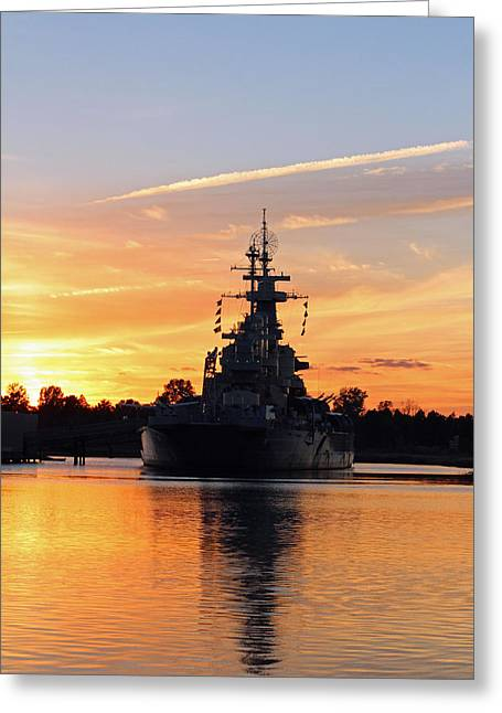 Uss Battleship Greeting Card by Cynthia Guinn