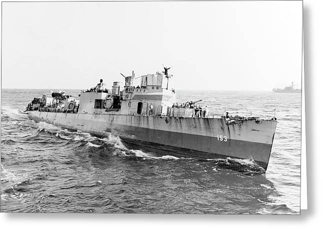 Uss Bernadou At Sea During The North Greeting Card