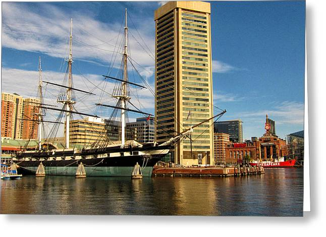 U.s.s. Constellation In Baltimore's Inner Harbor Greeting Card