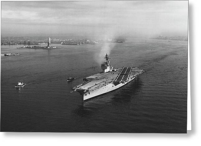 Uss Constellation Leaving New York Greeting Card by Stocktrek Images