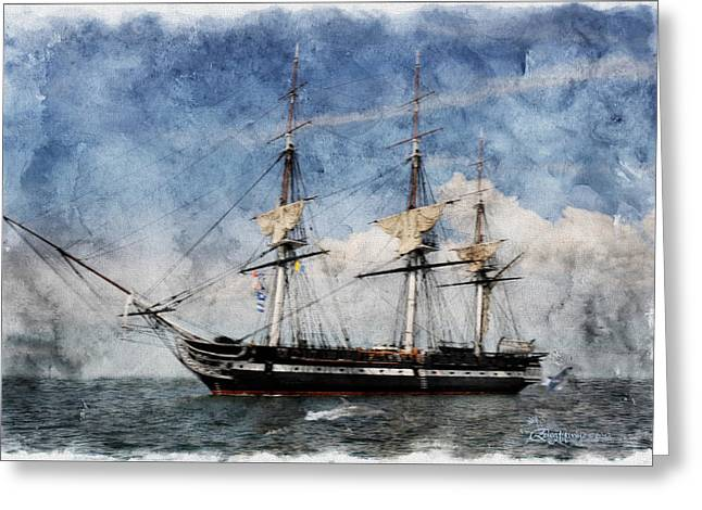 Uss Constitution On Canvas - Featured In 'manufactured Objects' Group Greeting Card