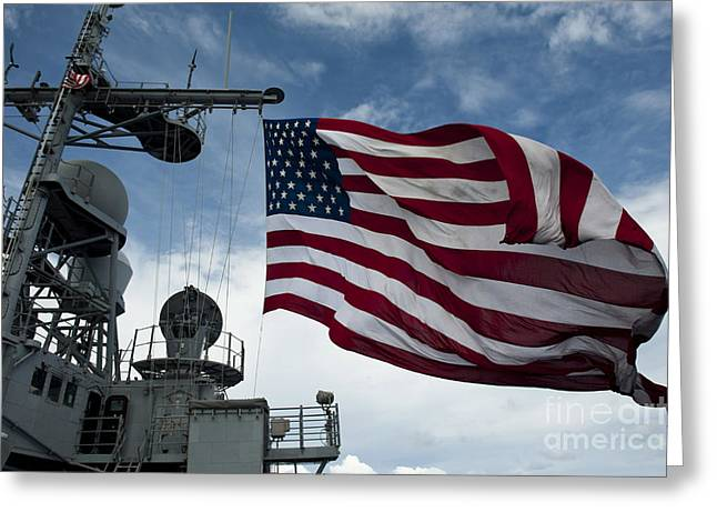 Uss Cowpens Flies A Large American Flag Greeting Card by Stocktrek Images